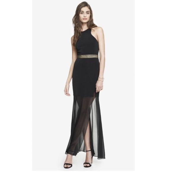 634a4d18ac860 Black Gold Express Sheer Maxi Long Dress Open Back